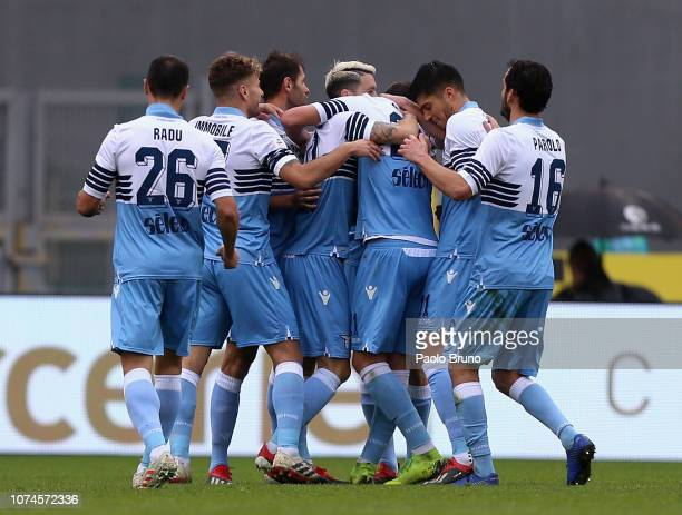 Sergej Milinkovic with his teammates of SS Lazio celebrates after scoring the opening goal during the Serie A match between SS Lazio and Cagliari at...