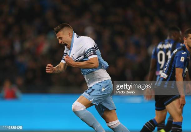 Sergej MilinkovicSavic celebrates after scoring during the TIM Cup Final match between Atalanta BC and SS Lazio at Stadio Olimpico on May 15 2019 in...