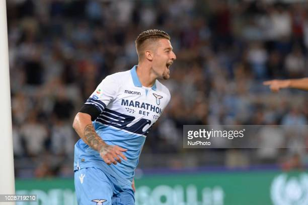 Sergej MilinkovicSavic celebrates after scoring goal 10 then canceled during the Italian Serie A football match between SS Lazio and Frosinone at the...