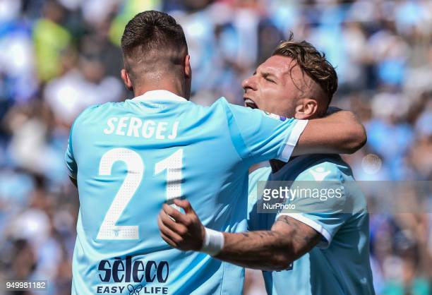 Sergej MilinkovicSavic celebrates with Ciro Immobile after scoring goal 10 during the Italian Serie A football match between SS Lazio and US...