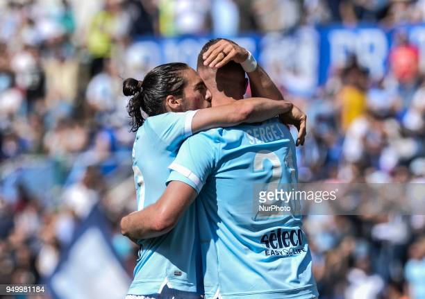 Sergej MilinkovicSavic celebrates with Martin Caceres after scoring goal 10 during the Italian Serie A football match between SS Lazio and US...