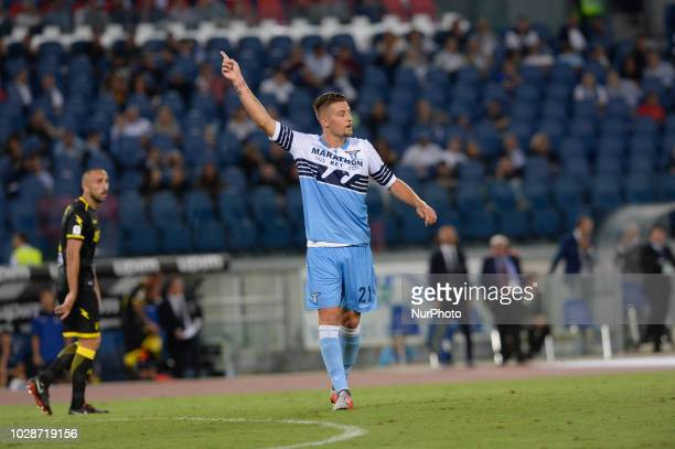 Sergej MilinkovicSavic during the Italian Serie A football match between SS Lazio and Frosinone at the Olympic Stadium in Rome on september 02 2018
