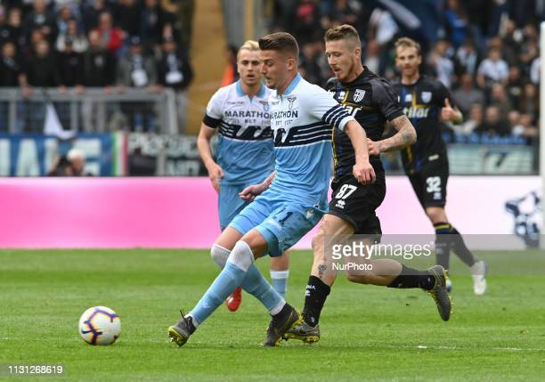 Sergej MilinkovicSavic during the Italian Serie A football match between SS Lazio and Parma at the Olympic Stadium in Rome on march 17 2019