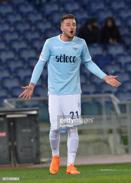 Sergej MilinkovicSavic during the Italian Serie A football match between SS Lazio and Hellas Verona at the Olympic Stadium in Rome on february 19 2018