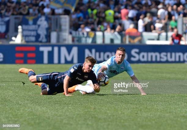 Sergej MilinkovicSavic during the Italian Serie A football match between SS Lazio and US Sampdoria at the Olympic Stadium in Rome on april 22 2018