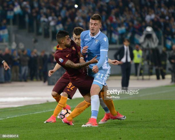 Sergej MilinkovicSavic Emerson Palmieri during the Tim Cup football match AS Roma vs SS Lazio at the Olympic Stadium in Rome on april 04 2017