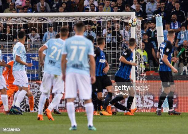 Sergej MilinkovicSavic hits the crossbar during the Italian Serie A football match between SS Lazio and FC Inter at the Olympic Stadium in Rome on...