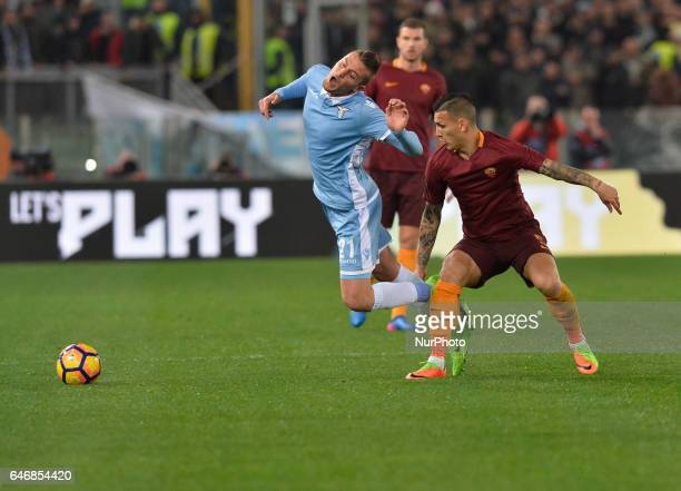 Sergej MilinkovicSavic Leandro Paredes during the Tim Cup football match SS Lazio vs AS Roma at the Olympic Stadium in Rome on march 01 2017