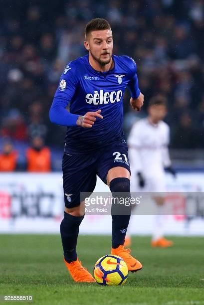 Sergej MilinkovicSavic of Lazio during the Italian Cup semi final match between Lazio and AC Milan at Stadio Olimpico Rome Italy on 28 February 2018