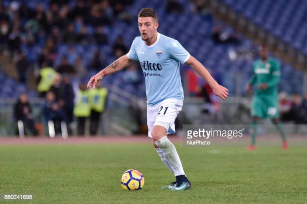 Sergej MilinkovicSavic of Lazio during the Serie A match between Lazio and Fiorentina at Olympic Stadium Roma Italy on 26 November 2017