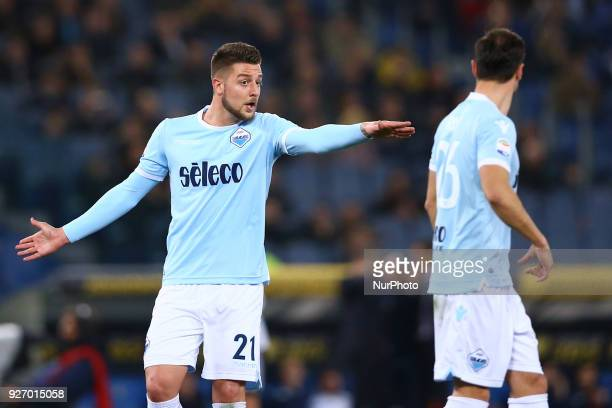 Sergej MilinkovicSavic of Lazio during the serie A match between SS Lazio and Juventus at Stadio Olimpico on March 3 2018 in Rome Italy