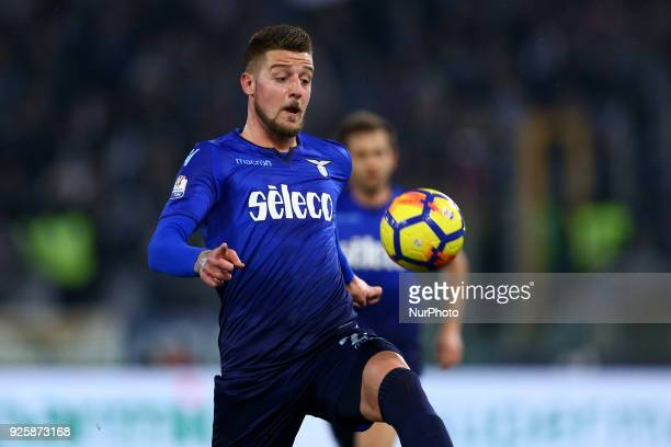 Sergej MilinkovicSavic of Lazio during the TIM Cup match between SS Lazio and AC Milan at Olimpico Stadium on February 28 2018 in Rome Italy