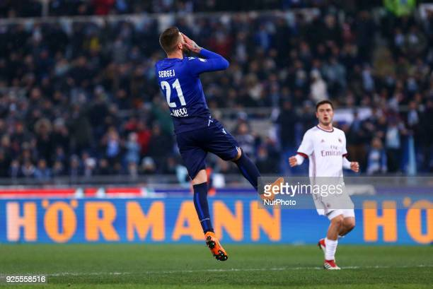 Sergej MilinkovicSavic of Lazio looks dejected during the Italian Cup semi final match between Lazio and AC Milan at Stadio Olimpico Rome Italy on 28...