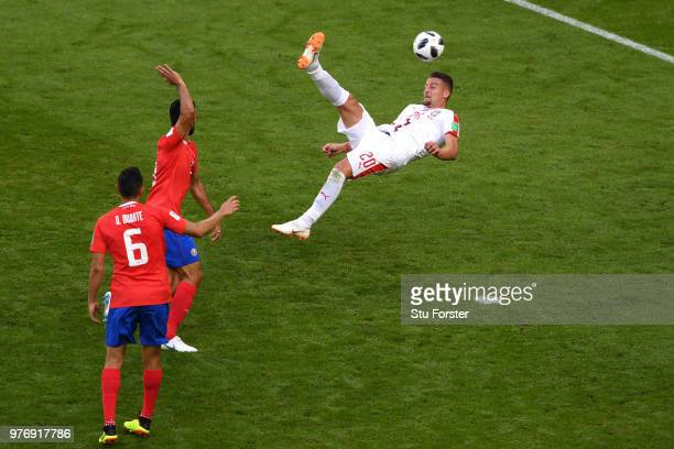 Sergej MilinkovicSavic of Serbia attempts an overhead kick on goal during the 2018 FIFA World Cup Russia group E match between Costa Rica and Serbia...