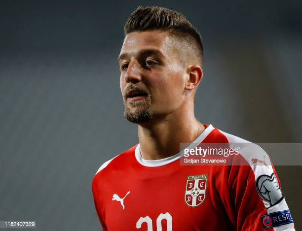 Sergej MilinkovicSavic of Serbia looks on during the UEFA Euro 2020 Qualifier Group B match between Serbia and Luxembourg on November 14 2019 in...
