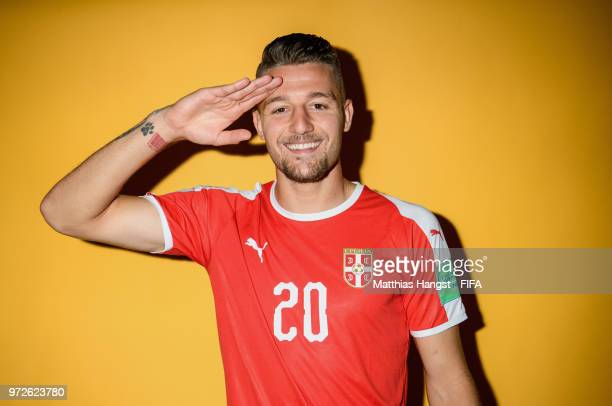Sergej MilinkovicSavic of Serbia poses for a portrait during the official FIFA World Cup 2018 portrait session at on June 12 2018 in Kaliningrad...