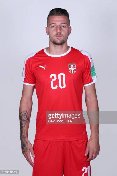 Sergej MilinkovicSavic of Serbia poses for a portrait during the official FIFA World Cup 2018 portrait session at the Team Hotel on June 12 2018 in...