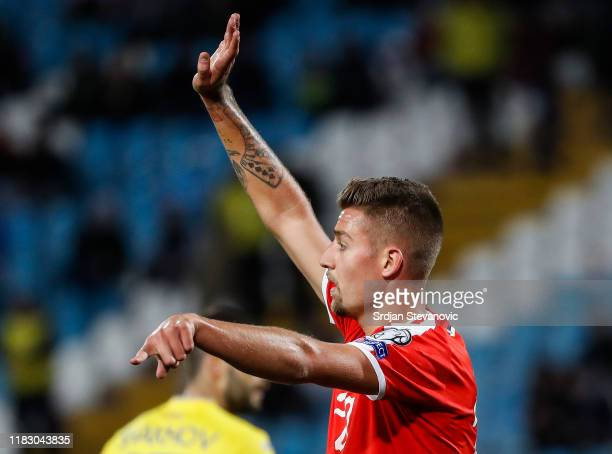 Sergej Milinkovic-Savic of Serbia reacts during the UEFA Euro 2020 Qualifier between Serbia and Ukraine on November 17, 2019 in Belgrade, Serbia.