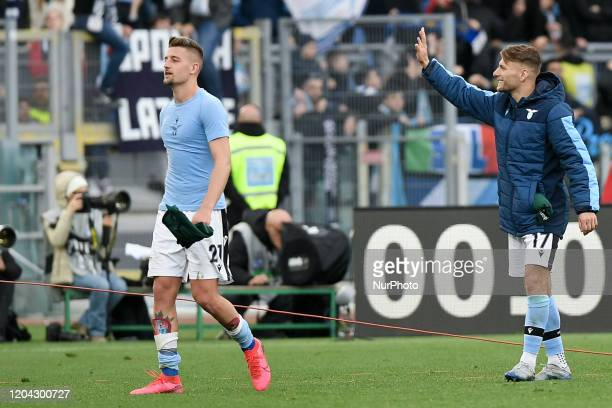 Sergej MilinkovicSavic of SS Lazio and Ciro Immobile of SS Lazio celebrate the victory during the Serie A match between Lazio and Bologna at Stadio...