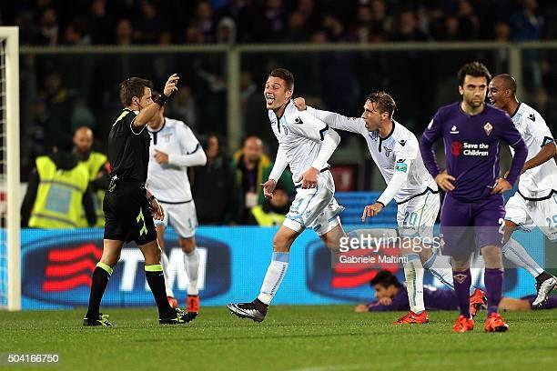 Sergej MilinkovicSavic of SS Lazio celebrates after scoring a goal during the Serie A match between ACF Fiorentina and SS Lazio at Stadio Artemio...
