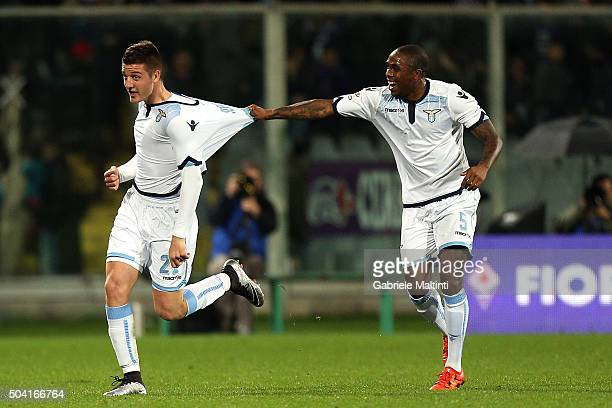 Sergej MilinkovicSavic of SS Lazio celebrates after scoring a goal during the Serie A match between ACF Fiorentina and SS Lazio at Stadio Artemio...