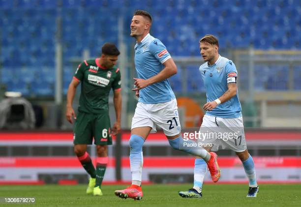 Sergej Milinkovic-Savic of S.S. Lazio celebrates after scoring their side's first goal during the Serie A match between SS Lazio and FC Crotone at...