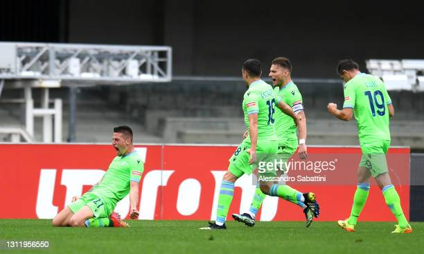 Sergej Milinkovic-Savic of S.S. Lazio celebrates after scoring their side's first goal during the Serie A match between Hellas Verona FC and SS Lazio...