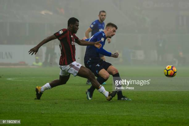 Sergej MilinkovicSavic of SS Lazio competes for the ball with Frank Kessie of AC Milan during Serie A football AC Milan versus SS Lazio Ac Milan wins...