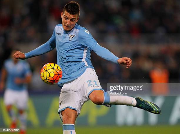 Sergej MilinkovicSavic of SS Lazio in action during the Serie A match between SS Lazio and Torino FC at Stadio Olimpico on October 25 2015 in Rome...