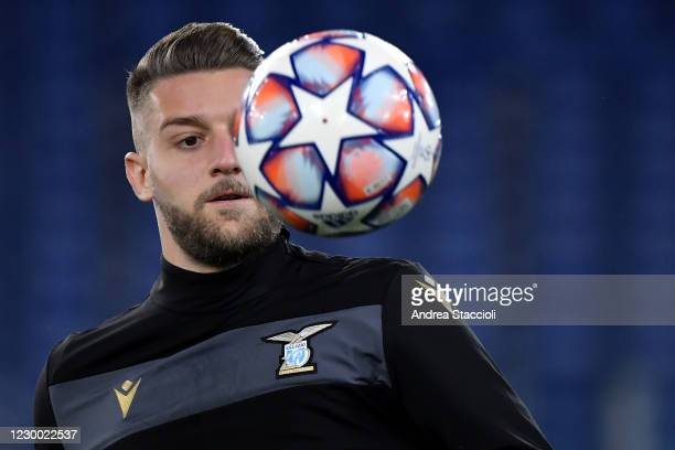 Sergej Milinkovic-Savic of SS Lazio warms uo during the Champions League Group Stage F football match between SS Lazio and Club Brugge. SS Lazio and...