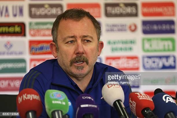 Sergen Yalcin Head Coach of Kayserispor speaks during a media conference after the Turkish Spor Toto Super Lig football match between Kayserispor and...
