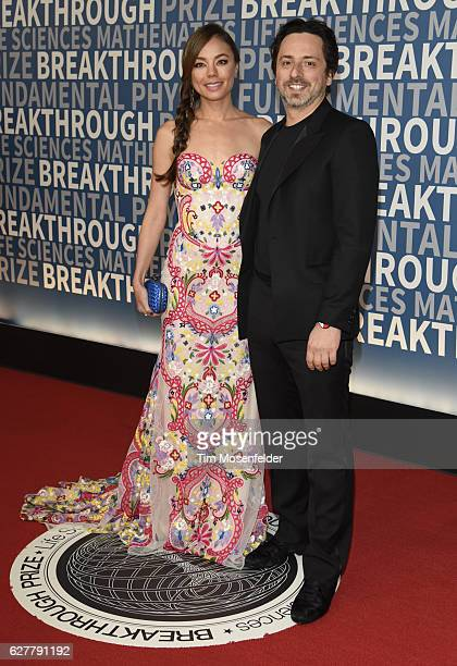 Sergey Brin and guest attend the 5th Annual Breakthrough Prize Ceremony at NASA Ames Research Center on December 4 2016 in Mountain View California