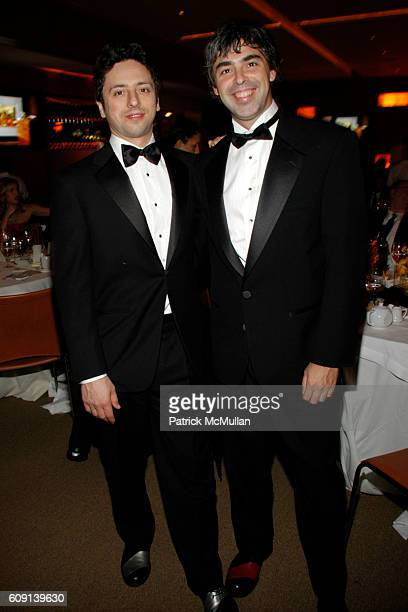 Sergey Brin and Larry Page attend VANITY FAIR Oscar Party at Morton's on February 25 2007 in Los Angeles CA