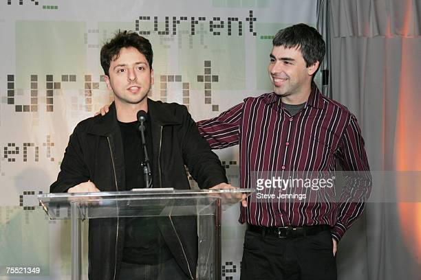 Sergey Brin and Larry Page cofounders of Google during Current TV Launch Party and Rally with Al Gore and Joel Hyatt at the INdTV Headquarters San...