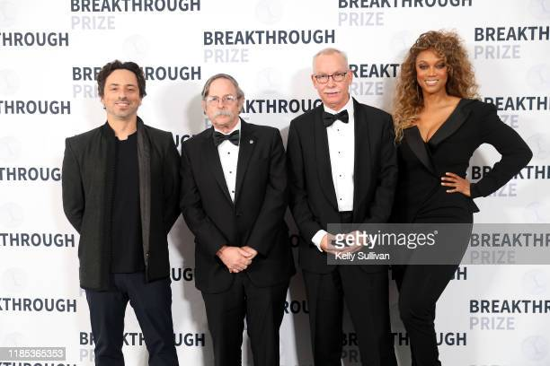 Sergey Brin, Arthur L. Horwich, F. Ulrich Hartl and Tyra Banks attend the 2020 Breakthrough Prize at NASA Ames Research Center on November 03, 2019...