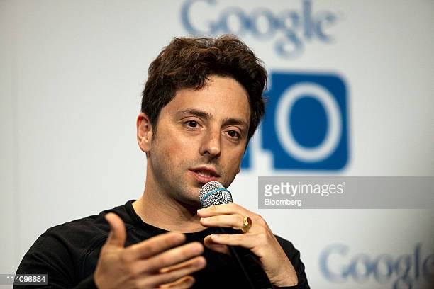Sergey Brin cofounder of Google Inc speaks during a press conference at the Google I/O conference in San Francisco California US on Wednesday May 11...