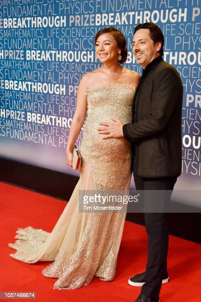 Sergey Brin Nicole Shanahan attend the 2019 Breakthrough Prize at NASA Ames Research Center on November 4 2018 in Mountain View California