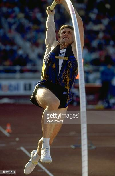 Sergey Bubka of the Ukraine in action during the pole vault event at the 1992 IAAF Mobil Grand Prix in Stockholm Sweden Bubka won the event with a...