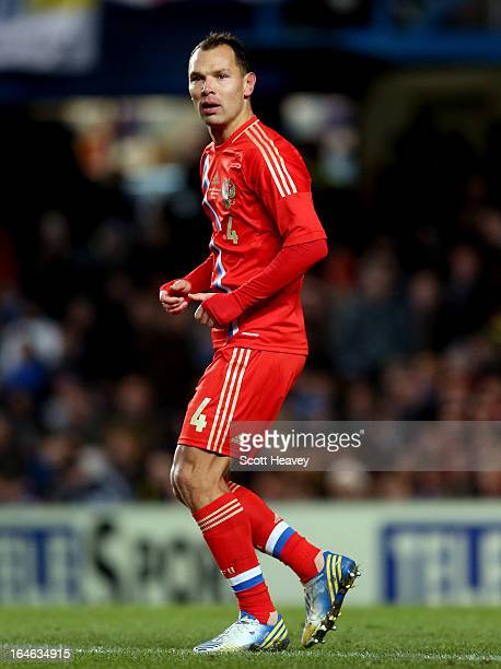 Sergey Ignashevich of Russia during an International Friendly between Brazil and Russia at Stamford Bridge on March 25 2013 in London England