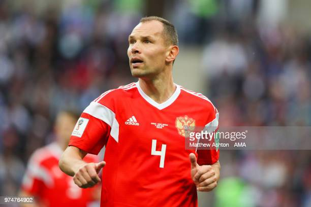Sergey Ignashevich of Russia in action during the 2018 FIFA World Cup Russia group A match between Russia and Saudi Arabia at Luzhniki Stadium on...