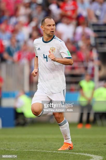 Sergey Ignashevich of Russia in action during the 2018 FIFA World Cup Russia Round of 16 match between Spain and Russia at Luzhniki Stadium on July 1...