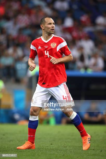 Sergey Ignashevich of Russia in action during the 2018 FIFA World Cup Russia Quarter Final match between Russia and Croatia at Fisht Stadium on July...