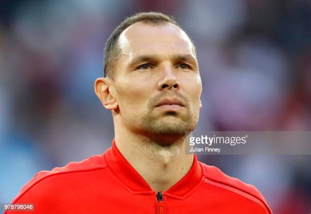 Sergey Ignashevich of Russia look on during the 2018 FIFA World Cup Russia group A match between Russia and Egypt at Saint Petersburg Stadium on June...