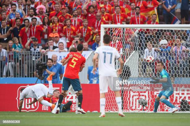 Sergey Ignashevich of Russia scores an own goal to make it 10 during the 2018 FIFA World Cup Russia Round of 16 match between Spain and Russia at...