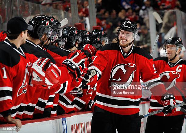 Sergey Kalinin of the New Jersey Devils celebrates his goal at 1716 of the third period against the New York Rangers at the Prudential Center on...