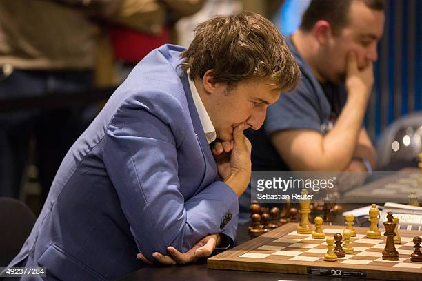 Sergey Karjakin is seen at the 2015 World Chess Rapid and Blitz Championship in Berlin on October 12 2015 in Berlin Germany