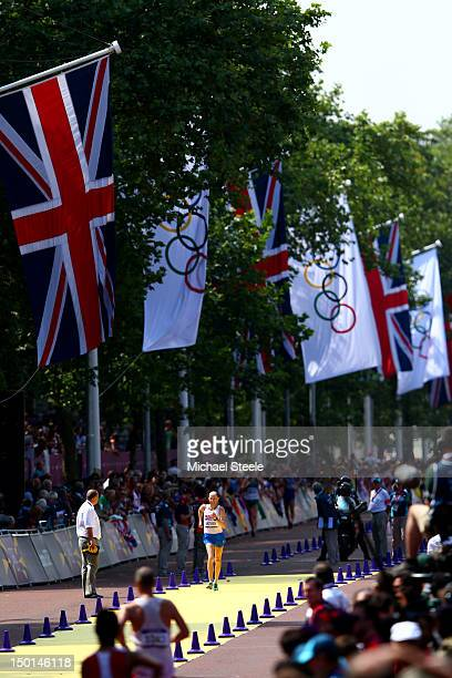 Sergey Kirdyapkin of Russia approaches the line to win gold during the Men's 50km Walk on Day 15 of the London 2012 Olympic Games on The Mall on...