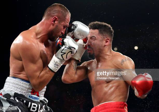 Sergey Kovalev and Andre Ward battle it out during their light heavyweight championship bout at the Mandalay Bay Events Center on June 17 2017 in Las...