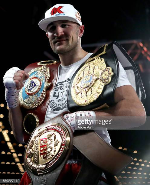 Sergey Kovalev celebrates after defeating Vyacheslav Shabranskyy during their Light Heavyweight at The Theater at Madison Square Garden on November...