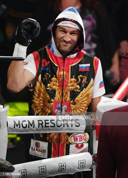 Sergey Kovalev gestures as he enters the ring for his WBO light heavyweight title fight against Canelo Alvarez at MGM Grand Garden Arena on November...